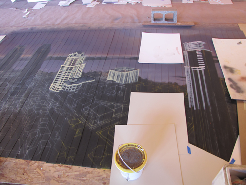 back at the beginning of architectural drawing for San Diego city mural