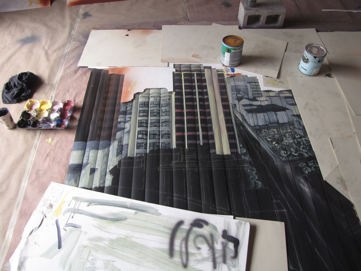 cityscape vertical blind mural painting progress